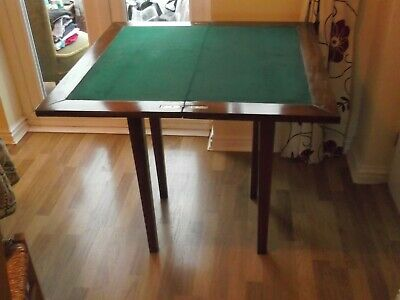 Antique Folding Card Bridge / Poker game table with green baize