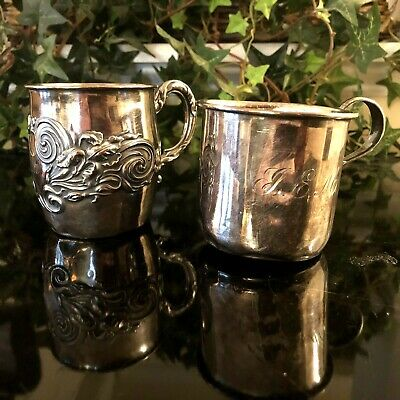 2 Vintage Sterling Silver Baby Cups Decorated