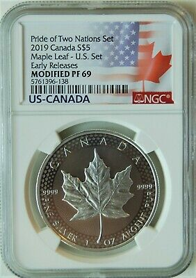 2019 Pride of Two Nations Modified Maple Leaf US Set NGC PF 70 Early Releases