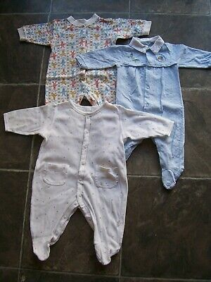 Baby Boy's Cotton Knit Coverall/Romper/One-Piece x 3 Incl George Size 00 VGUC