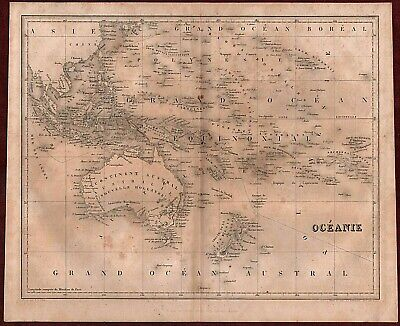 RARE AUSTRALIA, NZ AND OCEANIA 19th CENT. STEEL ENGRAVED JULES RENOUARD OLD MAP
