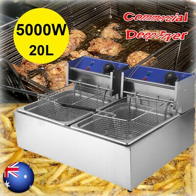20L Electric Deep Fryer 240V Twin Frying Basket Chip Cooker Frying oM
