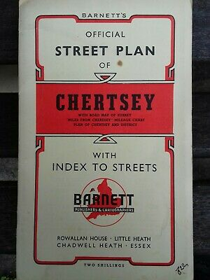 VINTAGE BARNETTS 1950s STREET PLAN OF CHERTSEY, SURREY WITH LOCAL ADVERTISING.