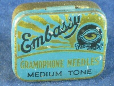 36824 Old Antique Vintage Gramophone Needle Tin Box Record Player Embassy