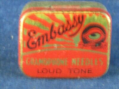 36821 Old Antique Vintage Gramophone Needle Tin Box Record Player Embassy