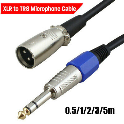 """Male Speaker Lead XLR to TRS 1/4"""" 6.35mm Microphone Cable Stereo Jack"""