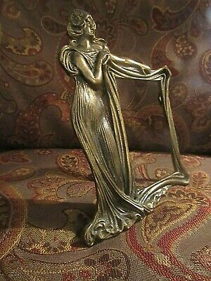 Estate > Elegant ART NOUVEAU FIGURE Antique Brass PICTURE FRAME Self Standing