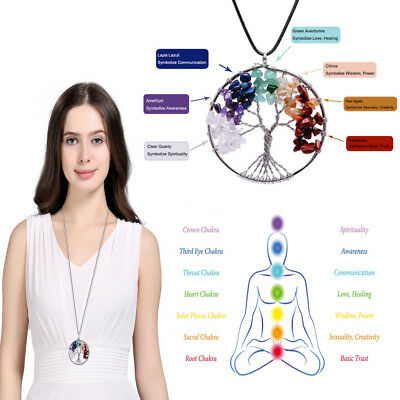 7 Chakra Tree Of Life Pendant Necklace Crystal Natural Stone Quartz Necklace HOT