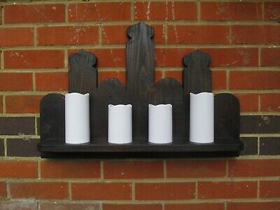 Large Recycled Pine Gothic Design Shelf / Led Candle Holder, Wall  Sconce