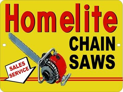 "NEW Reproduction Homelite Chain Saw 9"" x 12"" Metal Tin Aluminum Sign"