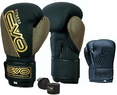 EVO Maya Leather Boxing Gloves Sparring Training GEL MMA Punch Bag Fight UFC