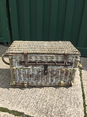 Antique Wicker Basket with Aluminium Liner possibly Millitery/car related