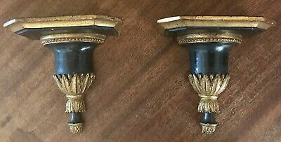 Stunning Pair Antique Italian Neoclassical Sconces Black Gilt Gesso Wood