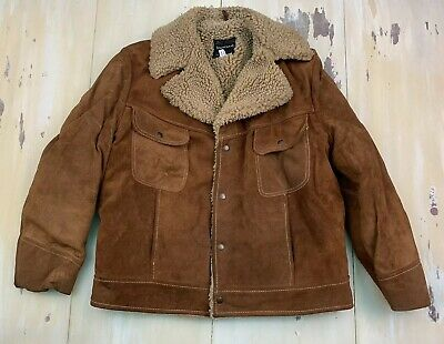 TOWNCRAFT - Vtg 60s-70s Tan Brown Suede Marlboro Man Sherpa Rancher Coat, LARGE
