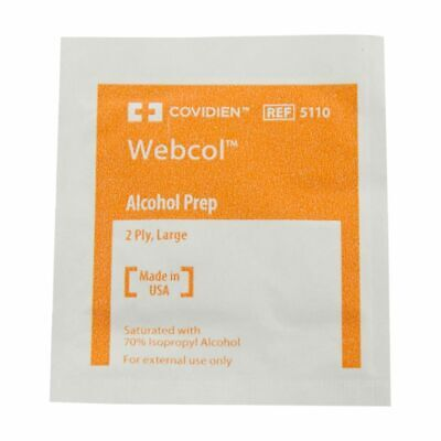 Covidien Webcol Medium Alcohol Prep Pad 2-Ply 400 Count Made in USA