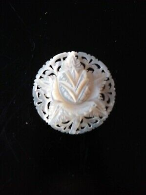 Vintage Mother Of Pearl Carved Brooch