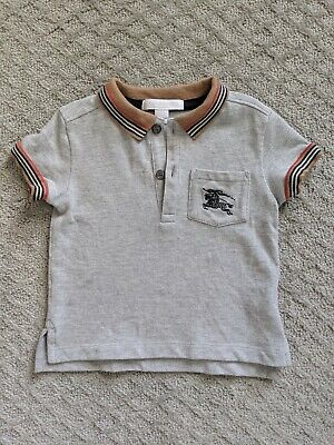 Baby Toddler Burberry collar polo shirt size 12 months gray