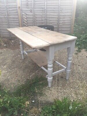 Rustic farmhouse style handmade pine topped table with fold out section