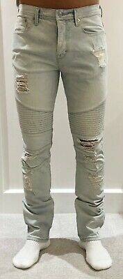 Stampd x Gap GQ men's light blue distressed biker Jeans. 32 x 32. New never worn