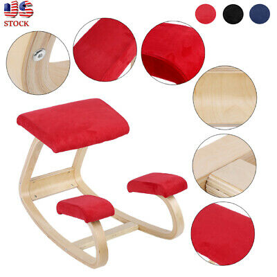 3 Colors Comfortable Ergonomic Kneeling Posture Chair Healthy Wooden Home Office