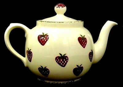 "P & K Tea Pot Strawberry Strawberries Cream Red Green 7"" Tall"