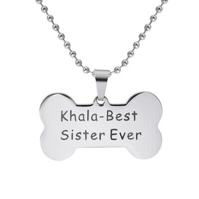 Bone Shape Custom Personalized Engraved Dog Tag Pet Cat Name ID Tag Necklace