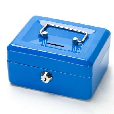 """4.5"""" Petty Cash Box Key Lock Strong Metal Money Box With Coin Slot With 2 Keys"""