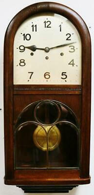 Antique Art Deco German Oak 8 Day Westminster Chimes Musical Wall Clock