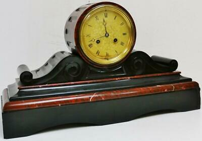Antique French 8 Day Slate & Red Marble Bell Striking Drumhead Mantel Clock