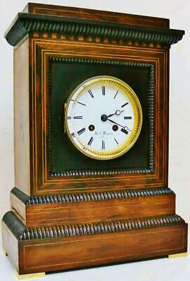 Antique French 8 Day Bell Striking Mantel Clock Rosewood Inlaid Bracket Clock