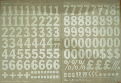 CHARTPAK DRY TRANSFER NUMBERS (White) FRANKLIN GOTHIC COND.120pt/34mm #M11120N