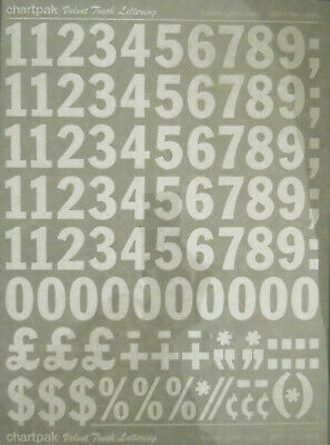 CHARTPAK DRY TRANSFER NUMBERS (White) FRANKLIN GOTHIC COND. 96pt/27mm #M1196N