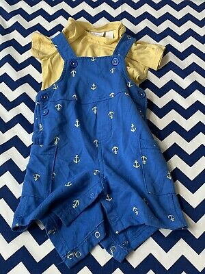First Impressions Baby Boy 12 Month 2-piece Outfit Yellow Anchor Theme