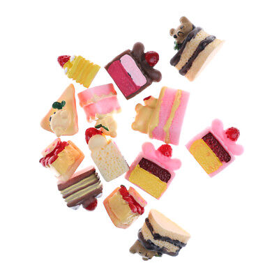 5pcs Dessert 3D Resin Cartoon Bear Cream Cakes Miniature food Dollhouse Decor JB