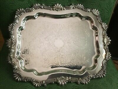FB ROGERS SILVER FOOTED BUFFET TRAY BUTLER COCKTAIL SERVING PLATTER 14x11 #6720