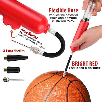 Fast Inflating Hand Air Pump With Needle Adapter For Ball Football Basketball UK