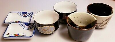 Lot Collection Asian Chinese Japanese Rectangular Dish Tea Cups