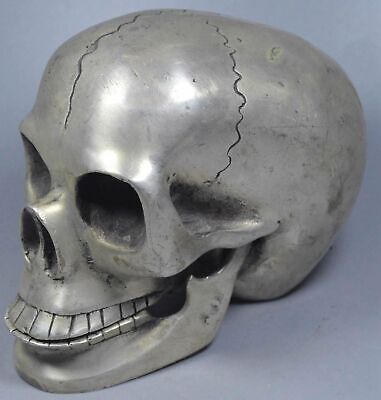 China Old Collectable Miao Silver Carve Exorcism Skull Ghost Head Summon Statue