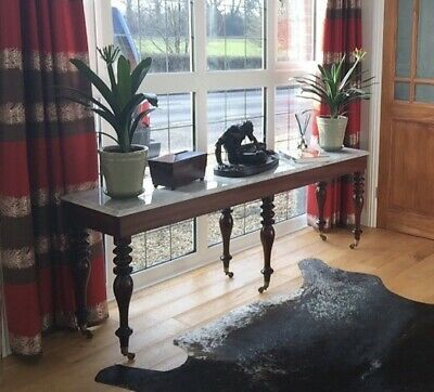 Mahogany Console Table With Spinette Legs and Carerra Marble Top