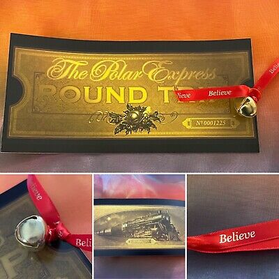 Large Polar Express Ticket And Jingle Bell Believe Gold Santa Christmas Eve box