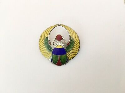 Antique Art Deco Sterling Enamel Egyptian Scarab Pin