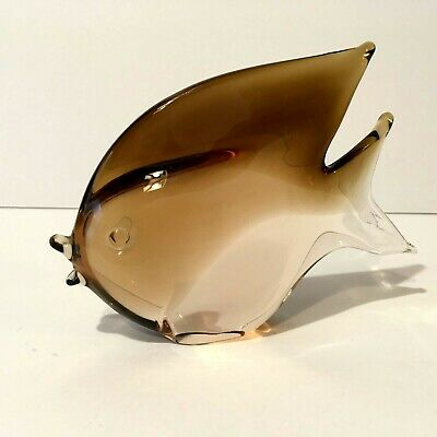 V. Nason & C  Beautiful Murano Italy  Amber Glass Fish Sculpture  With Label