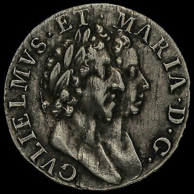 1689 William and Mary Early Milled Silver Maundy Threepence, Scarce