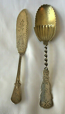 Antique Hand Engraved Sterling Silver American Butter Server & Serving Spoon.