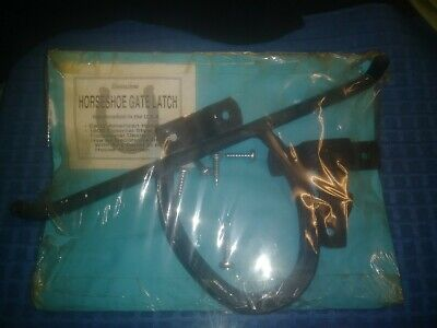 early Wrought Iron horseshoe gate Door garden Lock made in USA unused in pack