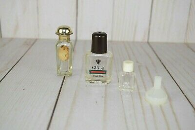 Lot of 3 Vintage Empty Miniature Perfume Bottles Gucci French with Funnel