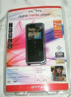 Sealed GPX DIGITAL MEDIA PLAYER 2GB W/ Stereo Earbuds & USB Cable ML640S bundle