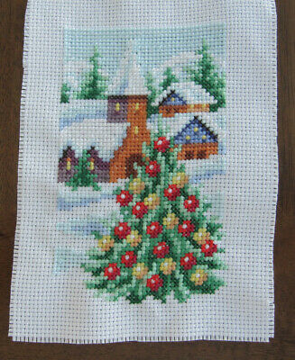 CROSS stitch PIECE Christmas TREE decorations SNOW chalets CHAPEL hobby SEW art