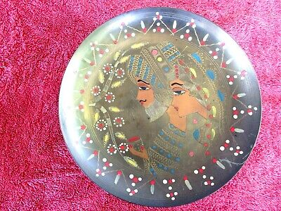 VINTAGE EGYPTIAN STYLE ETCHED & HAND PAINTED  BRASS WALL PLATE  25cm.
