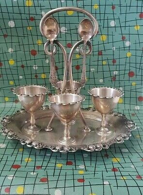 EPNS Egg Cups On Carry Tray with spoons.